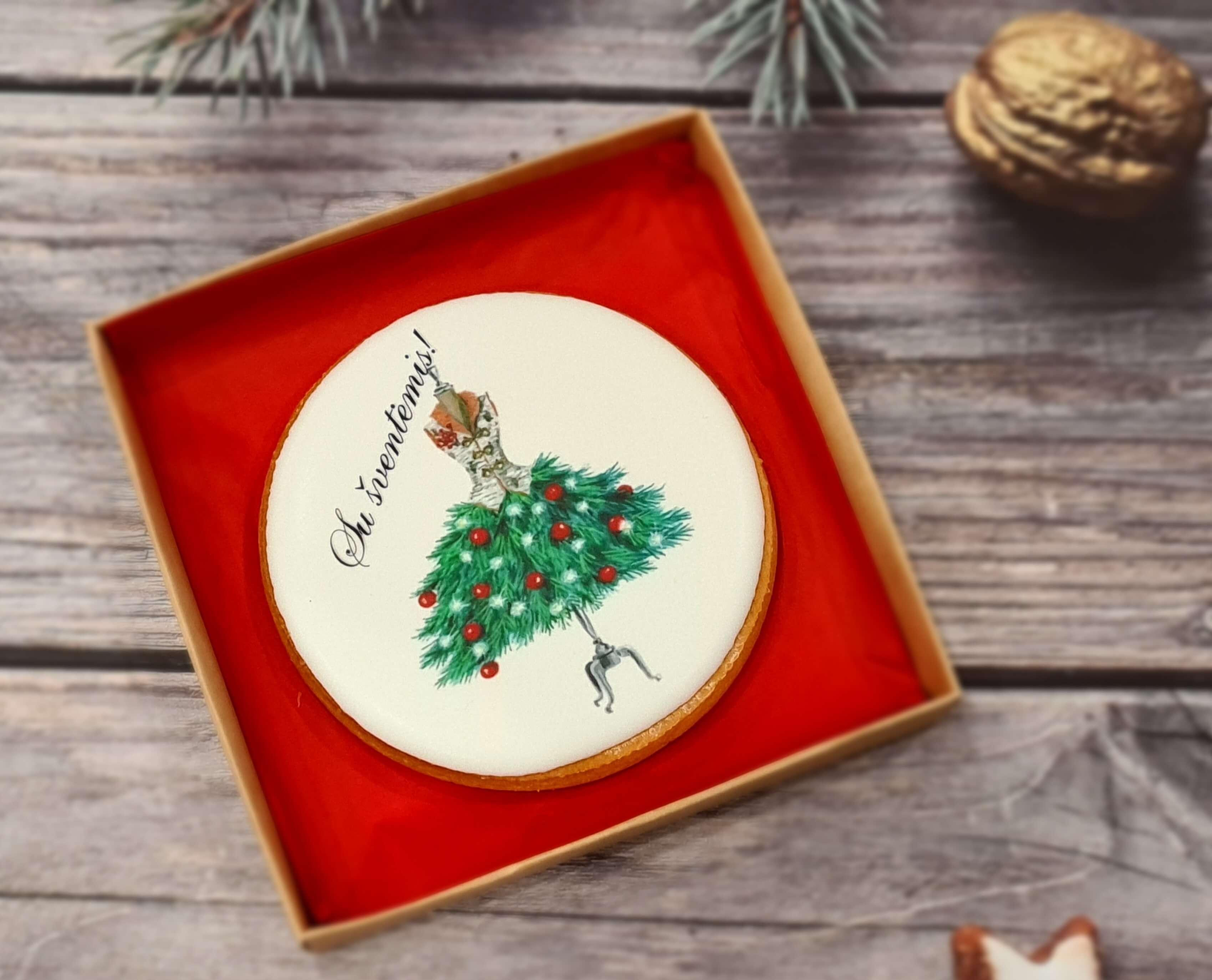 """Dekoruotas imbierinis sausainis """"Kalėdos - Šventinė suknelė"""""""