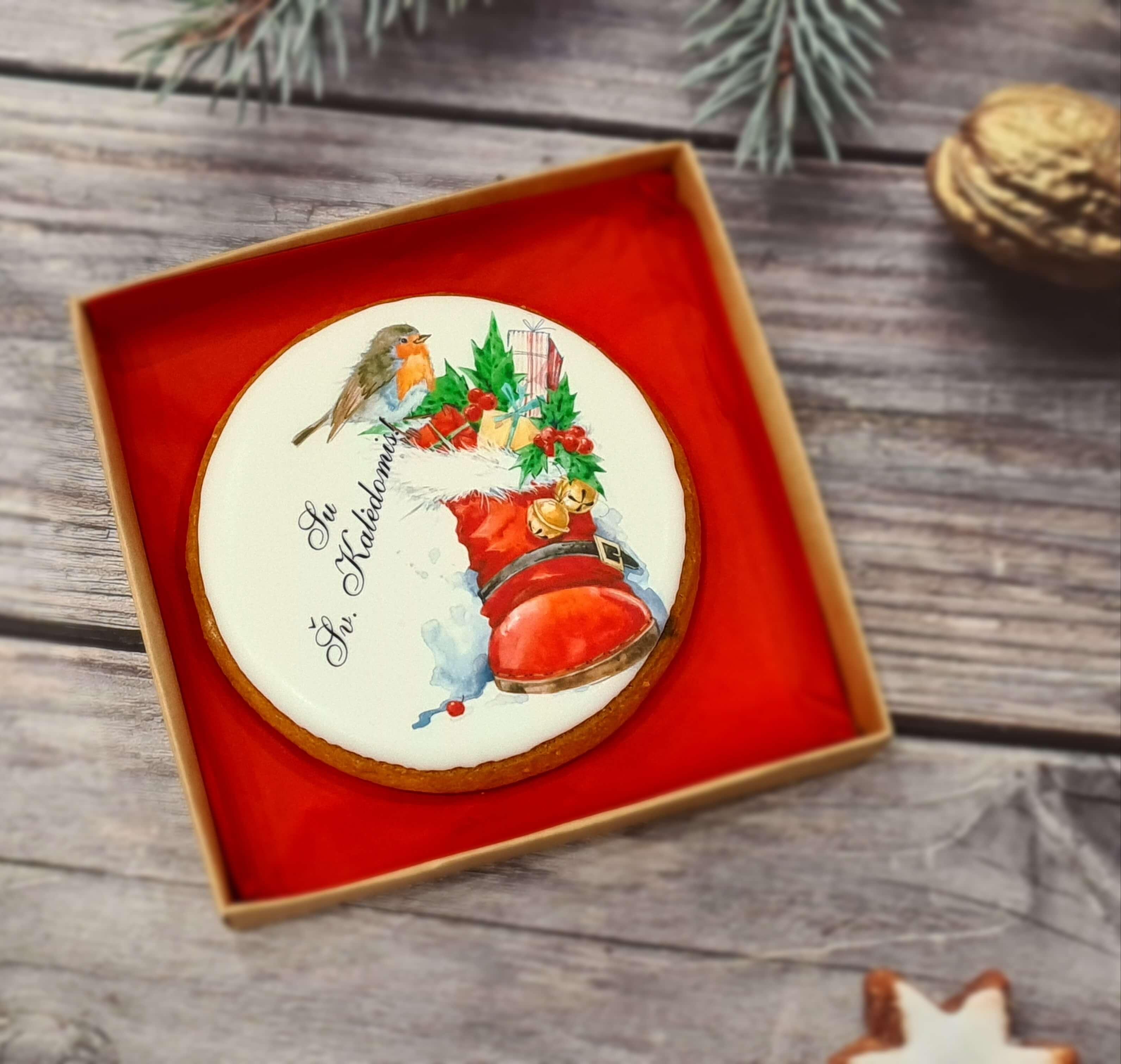 """Dekoruotas imbierinis sausainis """"Kalėdos - Šventinis batas"""""""