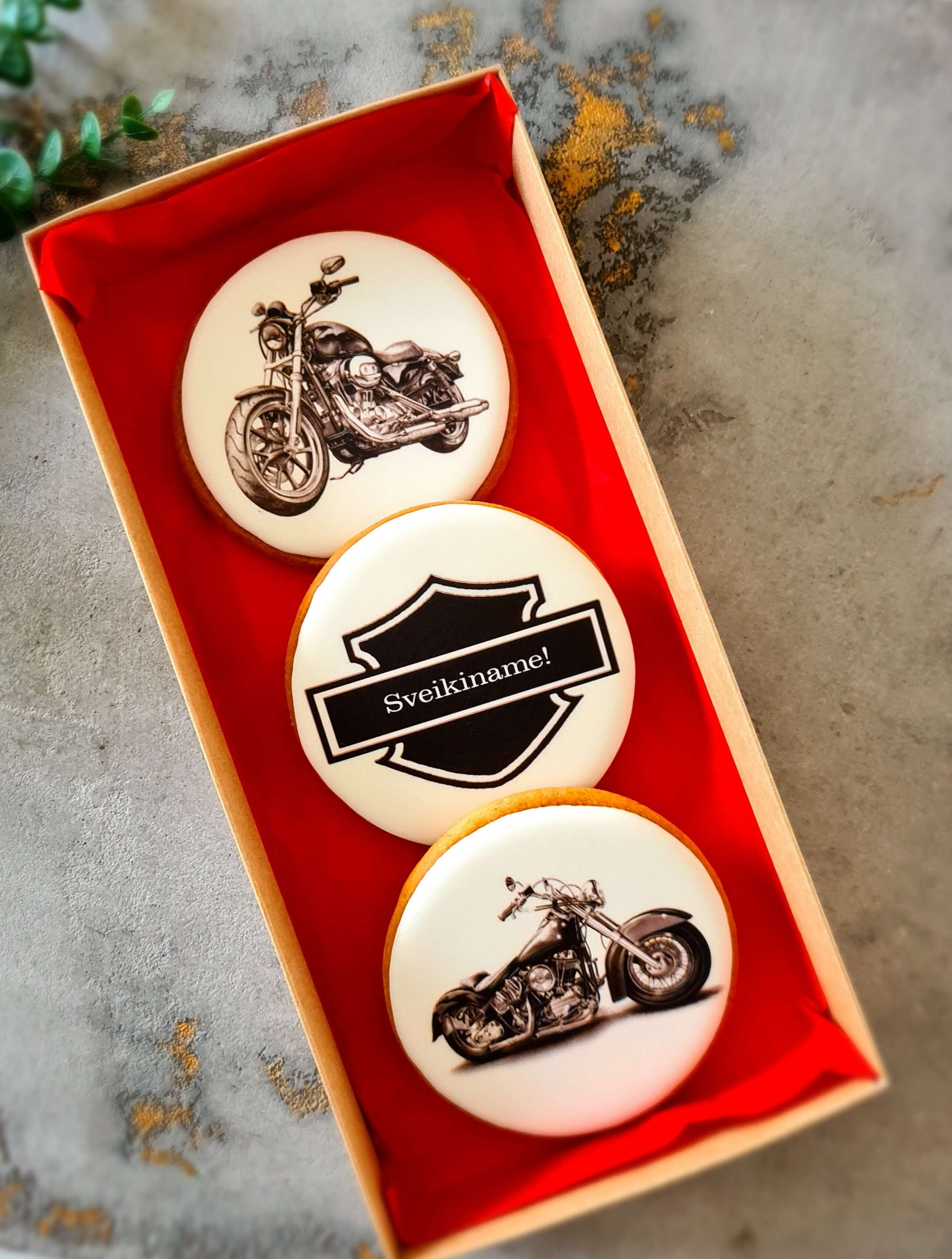 """Dekoruoti imbieriniai sausainiai """"Motociklai"""""""