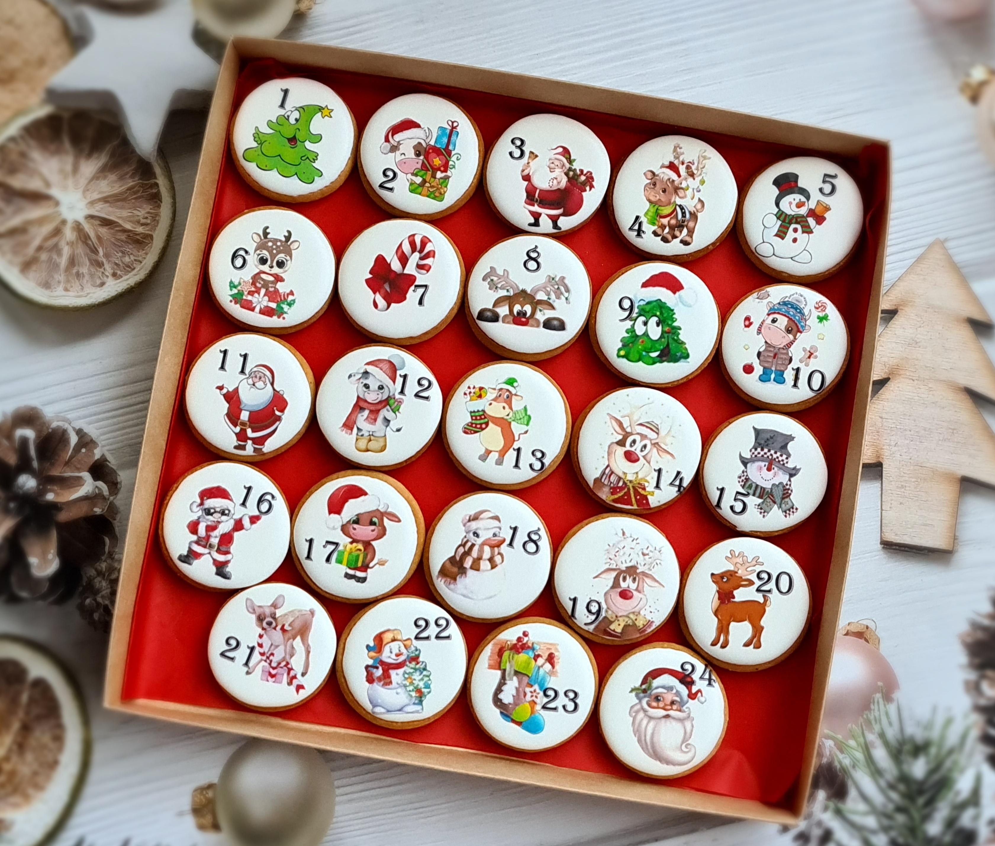 """Dekoruoti imbieriniai sausainiai """"Advento kalendorius"""" 1"""