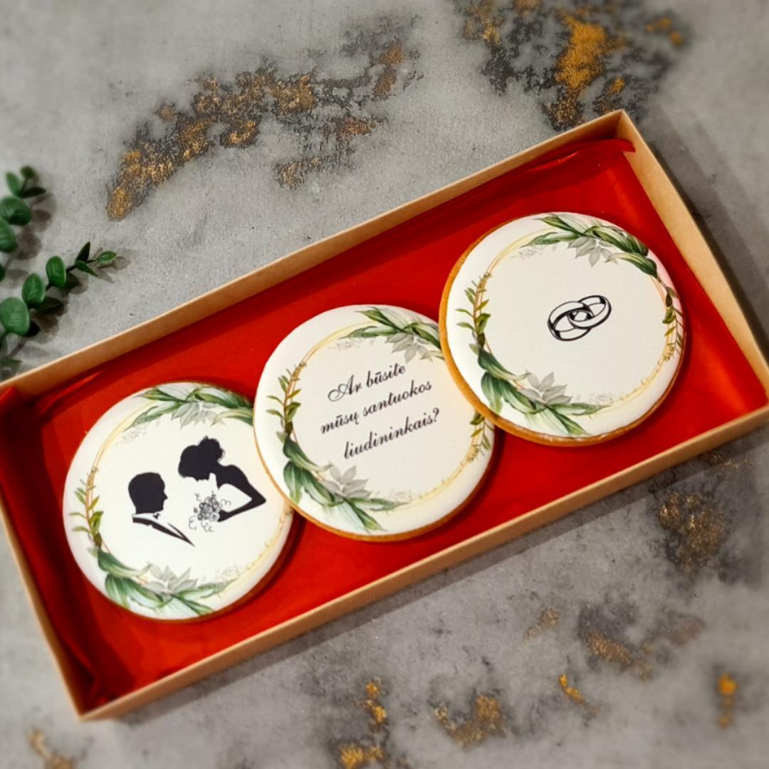 """Dekoruoti imbieriniai sausainiai """"Vestuvių pakvietimas - 1"""""""