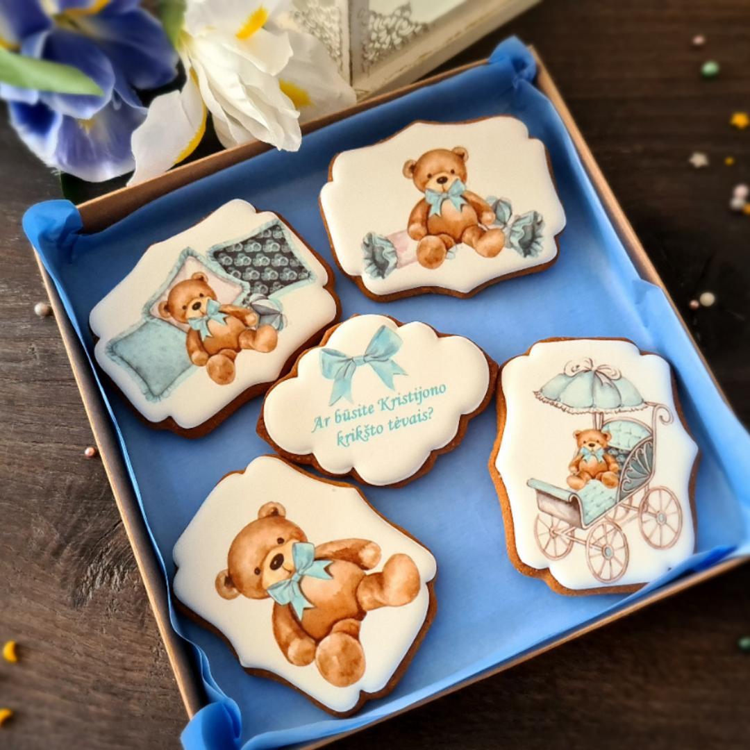 """Dekoruoti imbieriniai sausainiai """"Krikšto tėvų pakvietimas-2"""""""