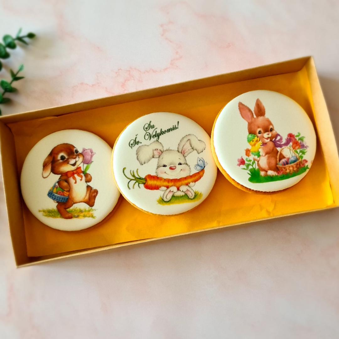 """Dekoruoti imbieriniai sausainiai """"Linksmosios Velykos su zuikiais"""""""