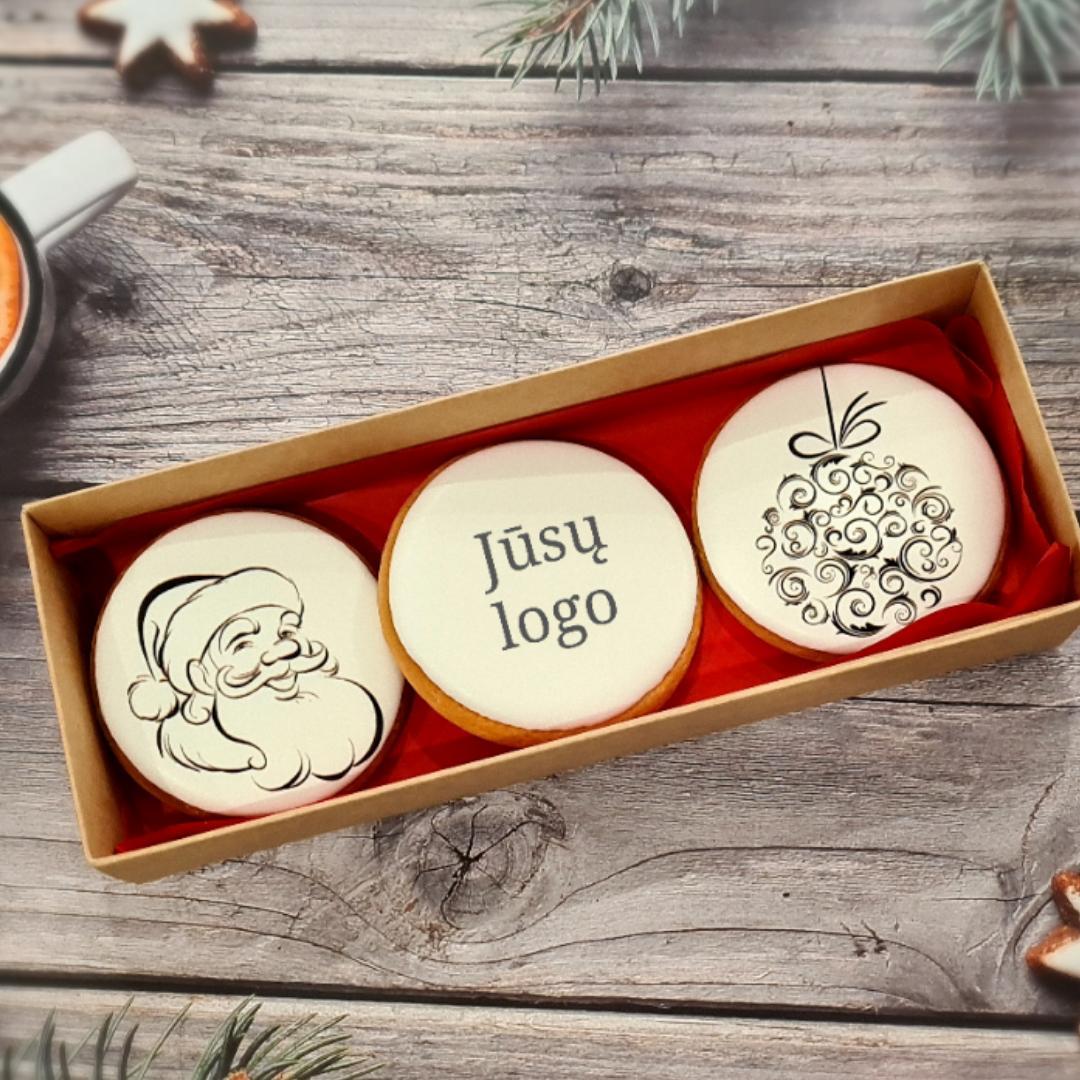 """Dekoruoti imbieriniai sausainiai """"Kalėdos"""" Juoda - Balta"""